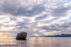 在岩石海滨的日落 免版税图库摄影