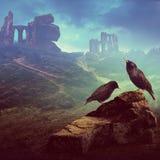 在岩石的两椋鸟与废墟在背景中 免版税库存图片