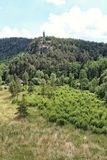 在岩石的外型塔在森林上 免版税图库摄影