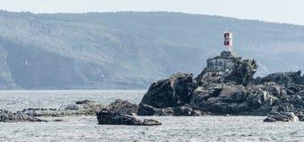 在岩石的小烽火台lightstation在Bona景色适当的海滩,纽芬兰 库存照片