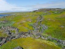在岩石的挖筑壕沟 库存图片