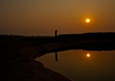 在岩石的未看见的日落钻孔石看法山姆平底锅Bok大峡谷, 免版税库存图片