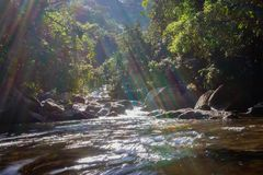 在岩石的瀑布水流量与彩虹颜色 免版税库存图片