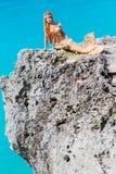 在岩石的美人鱼 免版税库存照片