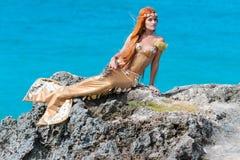 在岩石的美人鱼 库存照片