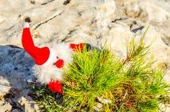 在岩石的长毛绒圣诞老人,圣诞节假日的标志 库存图片