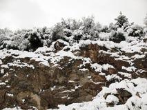 在岩石的雪 免版税库存图片