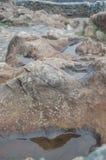 在岩石的水池在风暴以后 免版税库存照片