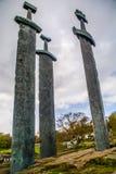 在岩石纪念碑, Hafrsfjord,挪威的剑 免版税库存照片