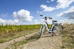 在岩石道路的两辆自行车 免版税库存图片