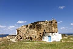 在岩石雕刻的教堂 免版税库存图片