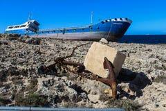 在岩石buggiba 12的搁浅的船 03 2018年 库存图片