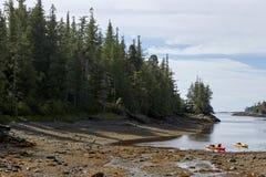 在岸的两艘皮船在有雾的海湾阿拉斯加 库存照片