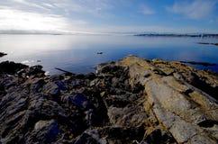 在岸的冻结成冰的岩石在牛附近指向直接横跨海的眼睛奥林匹克山 图库摄影