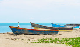 在岸的小船在El Rompio巴拿马 图库摄影