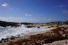 在岸的波浪 免版税库存照片