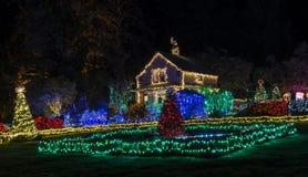 在岸英亩的圣诞灯 免版税库存照片