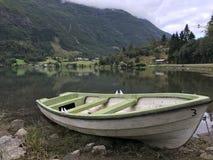 在岸草拟的绿色小船 库存照片