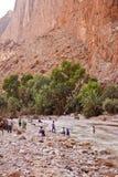 在峡谷的人浴 库存图片