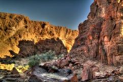 在峡谷Guelta d'Archei里面的亦称全景在东部恩内迪高原,乍得 图库摄影
