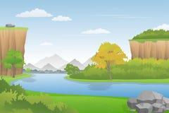 在峭壁之间的美好的河风景,传染媒介例证 库存图片