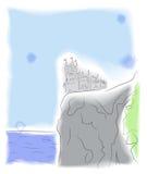 在峭壁的城堡由海运 免版税库存图片