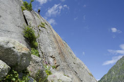 在峭壁的山轨道 库存照片