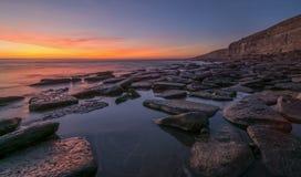 在峭壁的日落在南威尔士 库存照片
