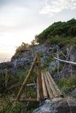 在峭壁的竹篱芭在酸值Sichang,春武里市,泰国 图库摄影