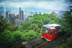 在峰顶的旅游电车,香港 免版税库存图片