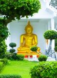 在崇拜寺庙的美丽的金黄佛教雕象在泰国 免版税库存照片
