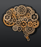 在嵌齿轮和齿轮外面的人脑修造 免版税图库摄影