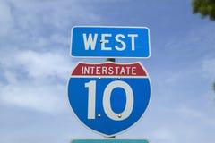 在州际公路10,克里斯托弗・哥伦布横贯大陆的高速公路的西部 免版税库存图片