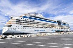 在巡航码头68的AIDAsol在特隆赫姆,挪威 库存照片