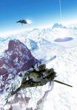 在巡逻的太空飞船战斗机 库存图片