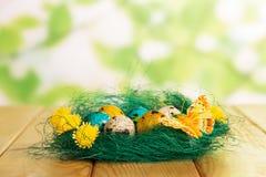 在巢、花和蝴蝶的复活节彩蛋在抽象绿色 图库摄影