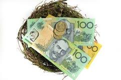 在巢储款投资概念的澳大利亚金钱 免版税图库摄影