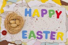 在巢和复活节快乐的坚果 库存图片