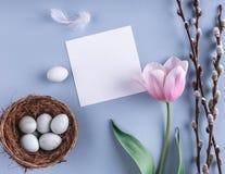 在巢和郁金香花的复活节彩蛋在春天背景 与拷贝空间的顶视图 看板卡愉快的复活节 免版税库存照片