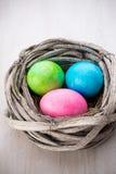 在巢春天折扣卡片的复活节彩蛋 图库摄影