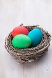 在巢春天折扣卡片的复活节彩蛋 免版税库存图片