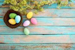 在巢的五颜六色的复活节彩蛋与在土气木板条背景的花在蓝色油漆 库存图片