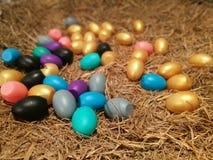 在巢的五颜六色的鸡蛋 库存图片