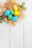 在巢的复活节彩蛋在土气白色背景 库存照片