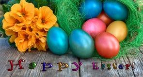 在巢的复活节彩蛋在老木背景 免版税库存图片