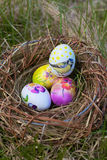 在巢的复活节彩蛋 免版税库存图片