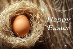 在巢的愉快的复活节彩蛋在木背景 免版税库存图片