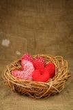 在巢的编织的心脏 库存图片
