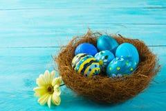 在巢的蓝色复活节彩蛋 免版税库存图片