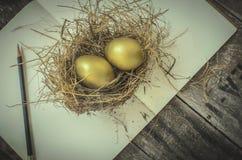 在巢的金黄鸡蛋,笔记本,铅笔 库存图片